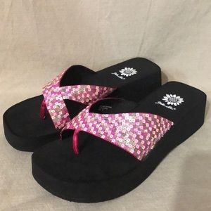 Yellow Box Sequined Pink Wedge Sandal